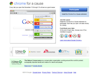 Google's Chrome for a Cause