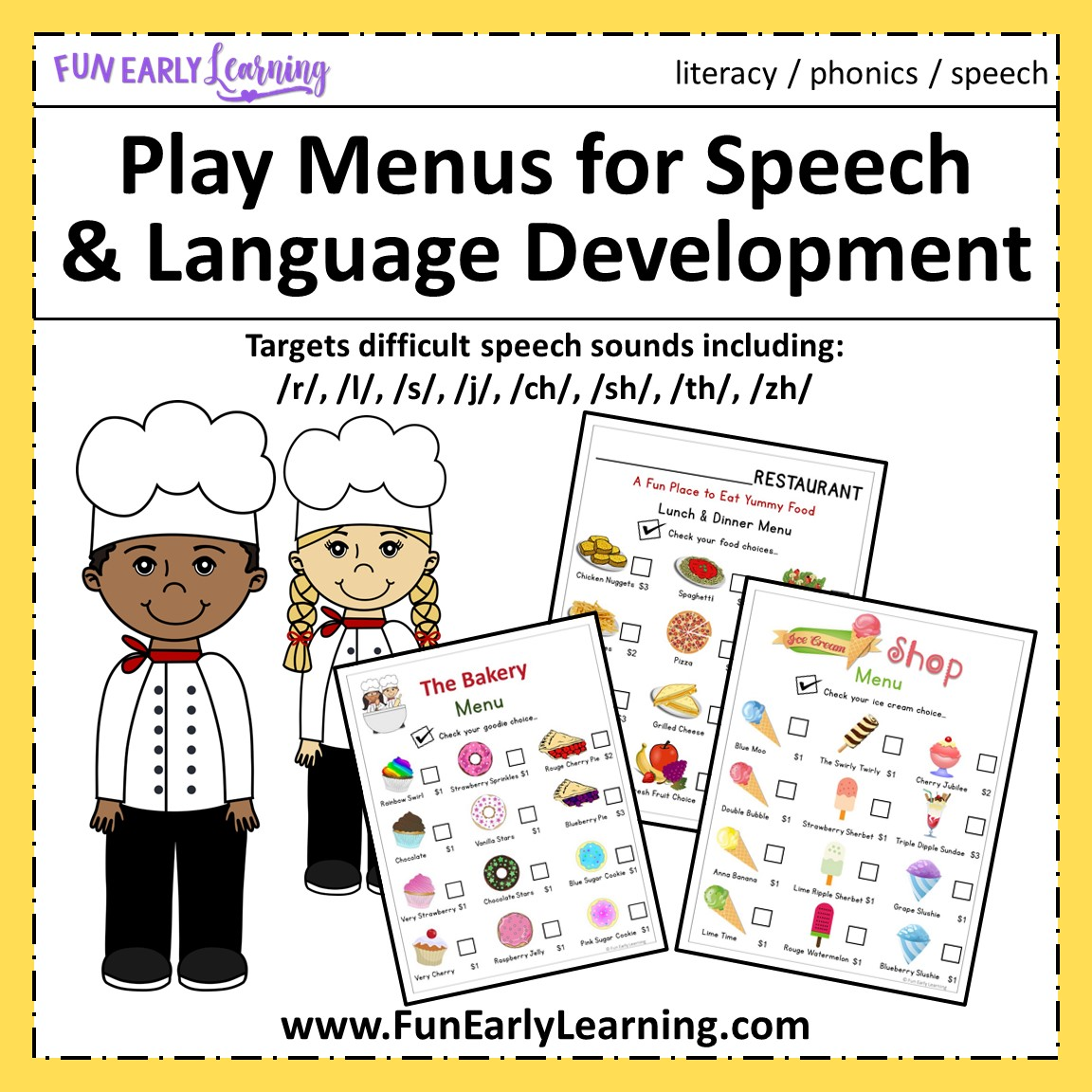 Play Menus For Speech And Language Development