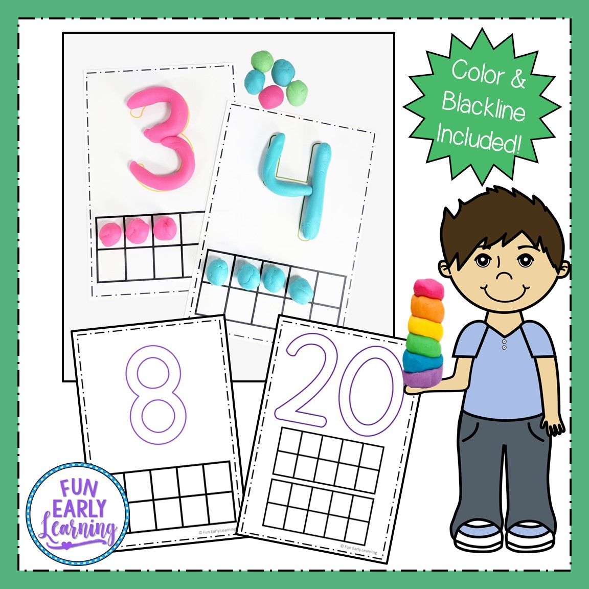 Play Dough Number Mats For Numbers 1 20 Early Math Activity