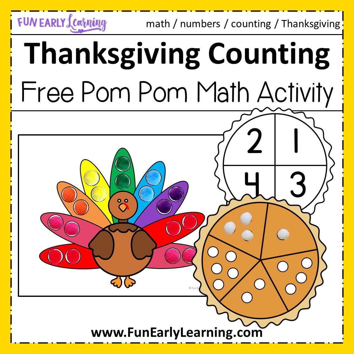 Thanksgiving Pom Pom Counting Free Math Printable For Prek