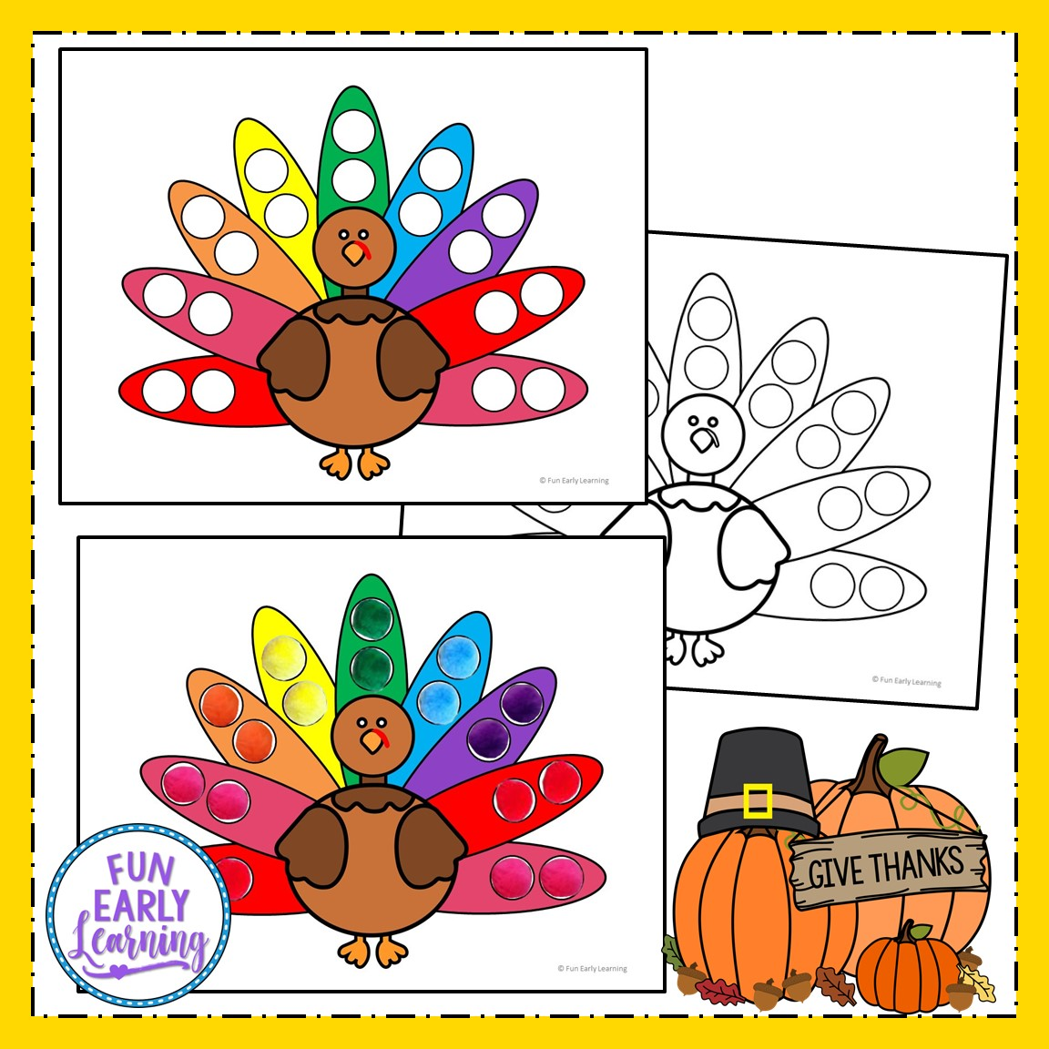 Thanksgiving Pom Pom Counting Free Math Printable For Prek