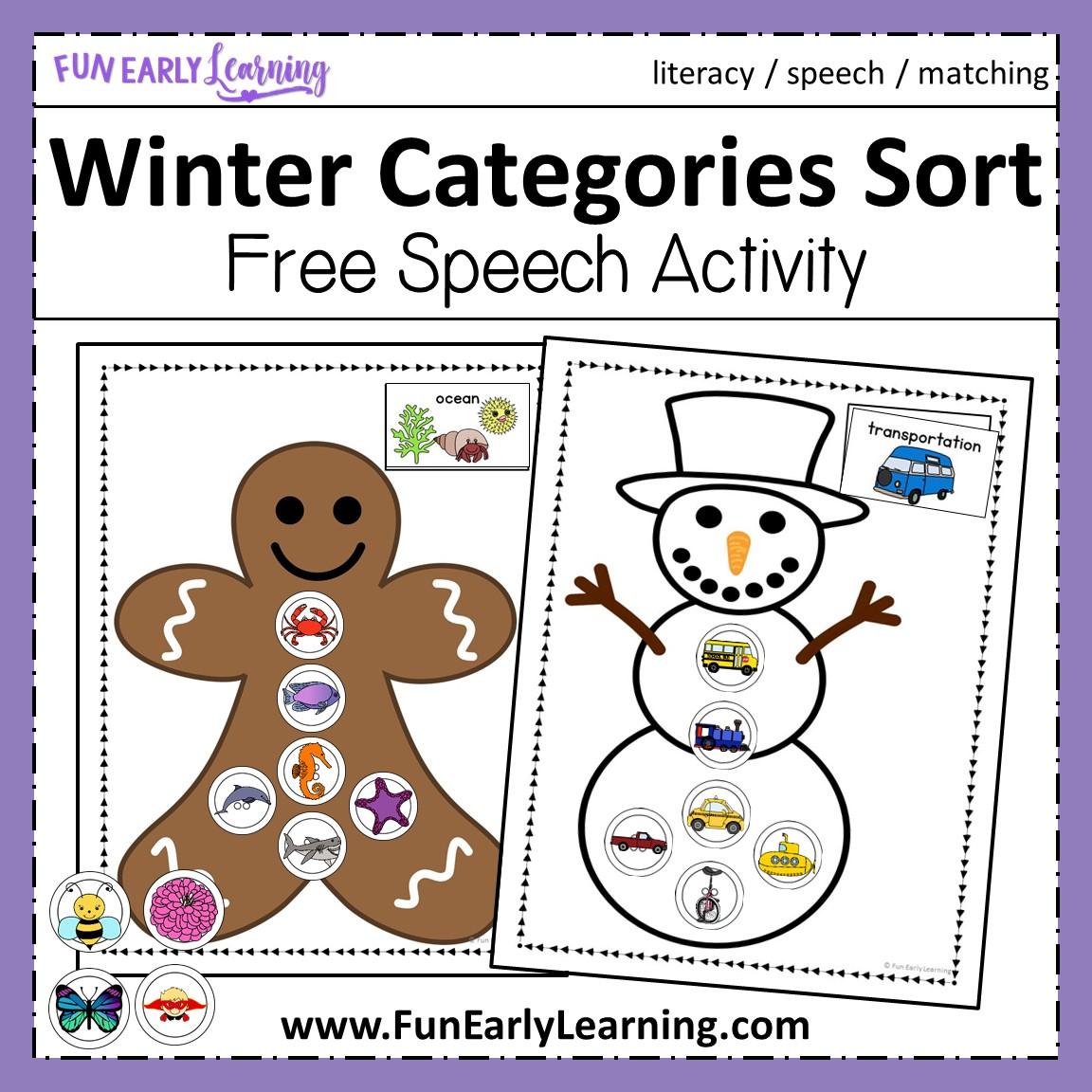 Winter Categories Sorting Free Printable Preschool And