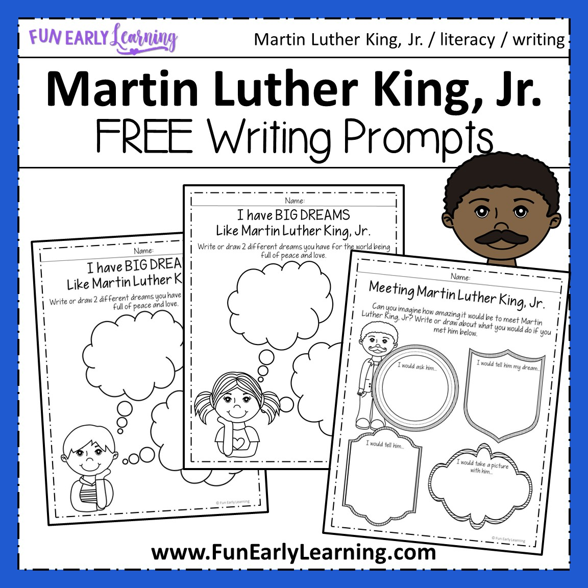 Martin Luther King Jr Writing Prompts For Preschool And