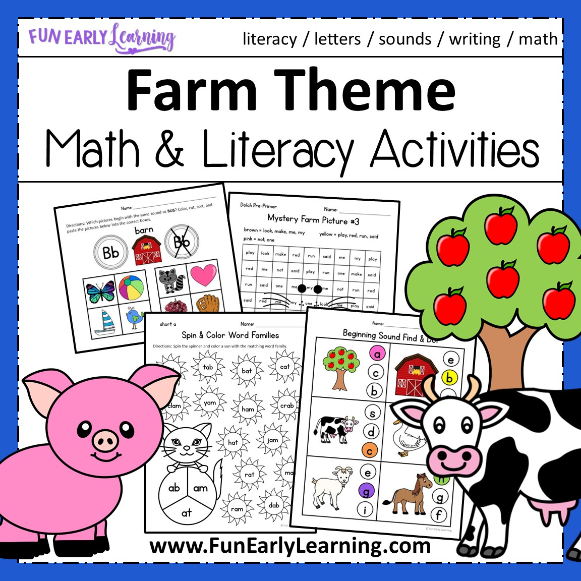 Farm Theme Math And Literacy No Prep Printables And Activities