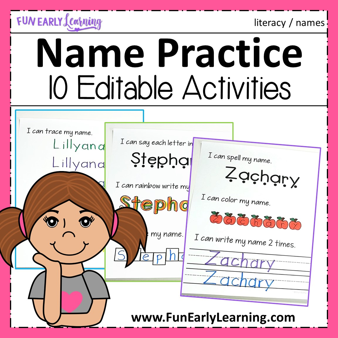 Editable Name Practice Activities For Preschool And