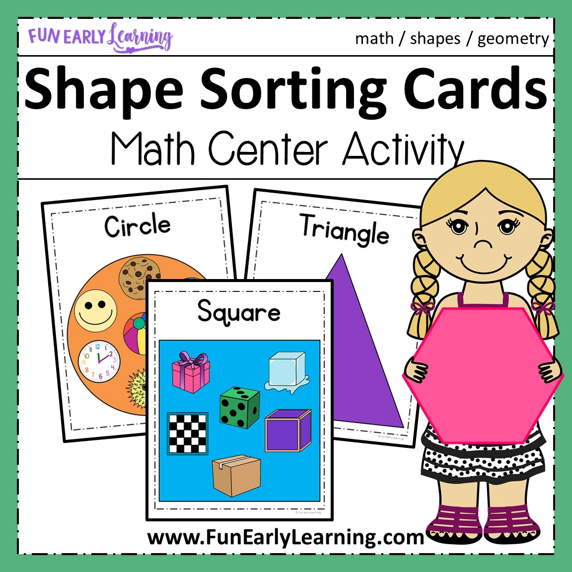 Shape Sorting Cards Math Activity For Preschool And