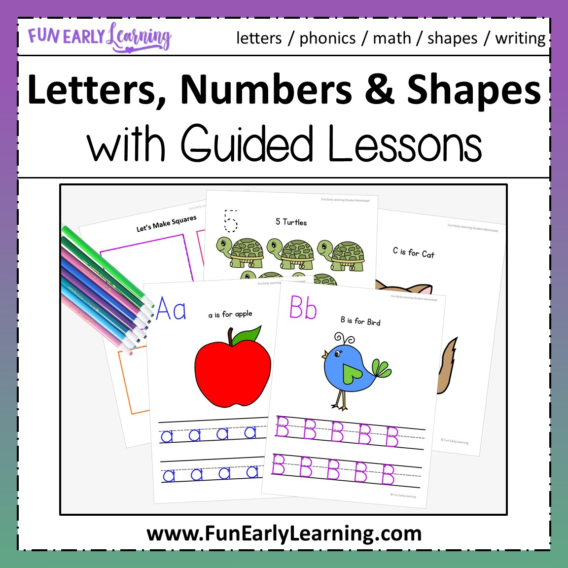 Letters Numbers Amp Shapes Worksheets Bundle With Guided