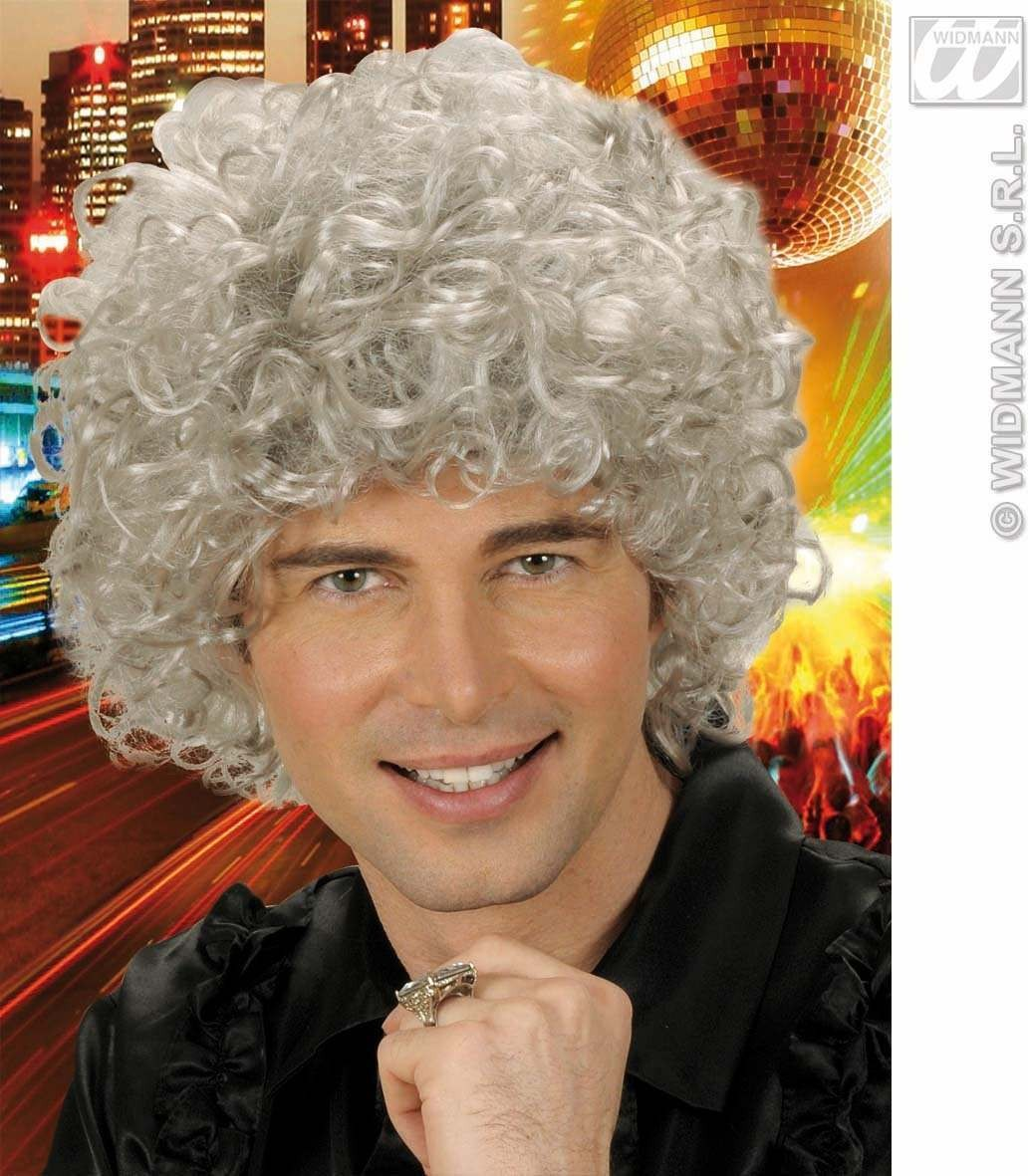 Curly Hair Man Wig Grey Fancy Dress