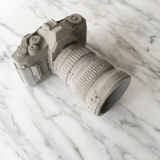camera vase concrete