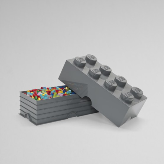 lego storage brick 8 grijs