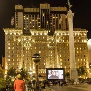 Outdoor movie night for Macy's in Union Square San Francisco