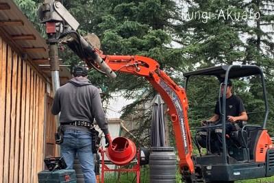 New Lab - Machine installing the screw piles