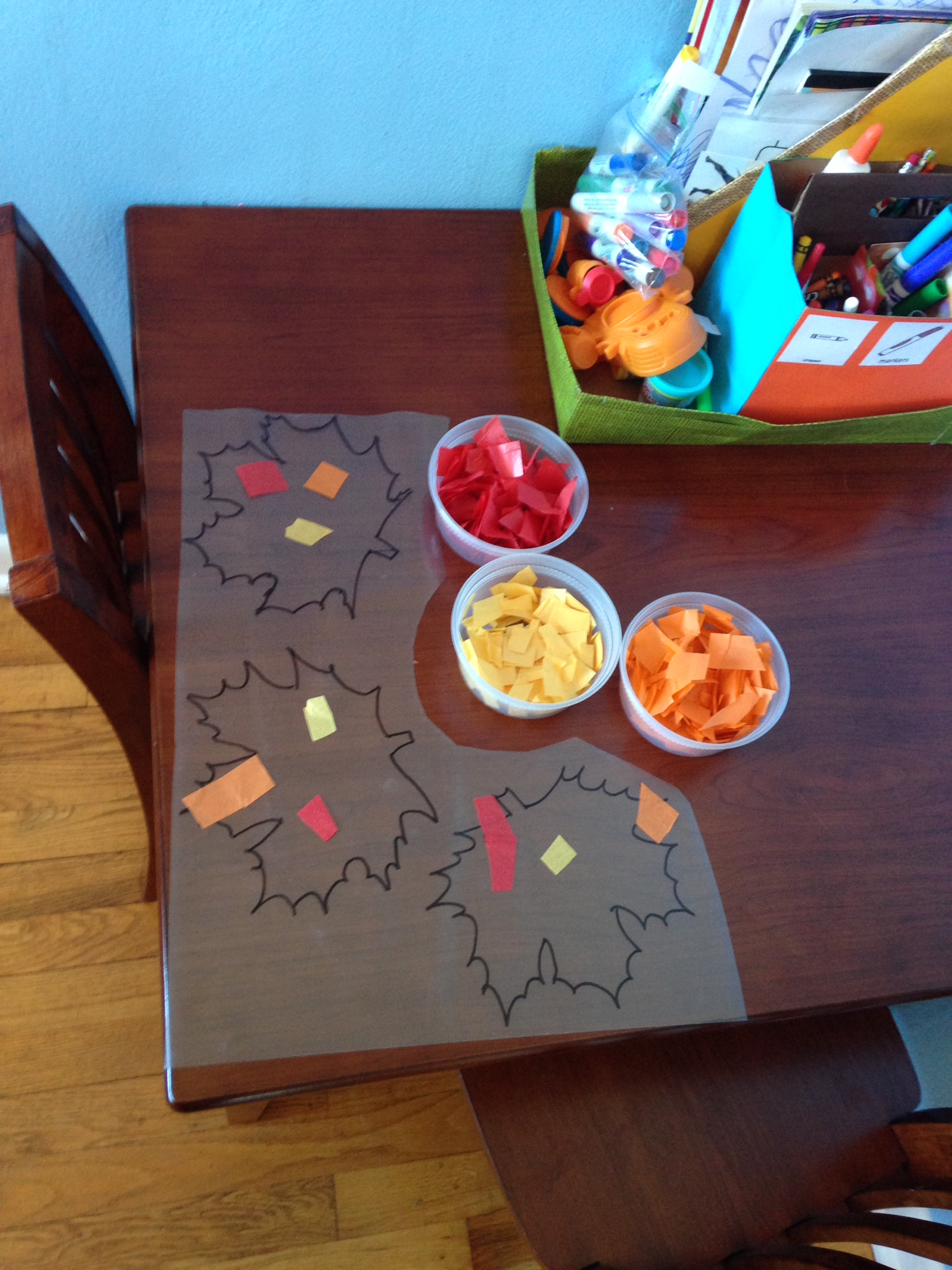 Autumn craft day fun happiness life they placed the tissue paper on the contact paper however they pleased d man was precise in his application big c did more of a dump and crumple with a jeuxipadfo Image collections