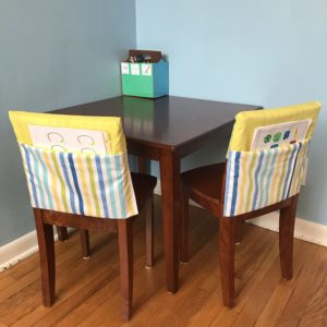 DIY pocket chair covers to add some organization and charm to your homework and kids craft area.