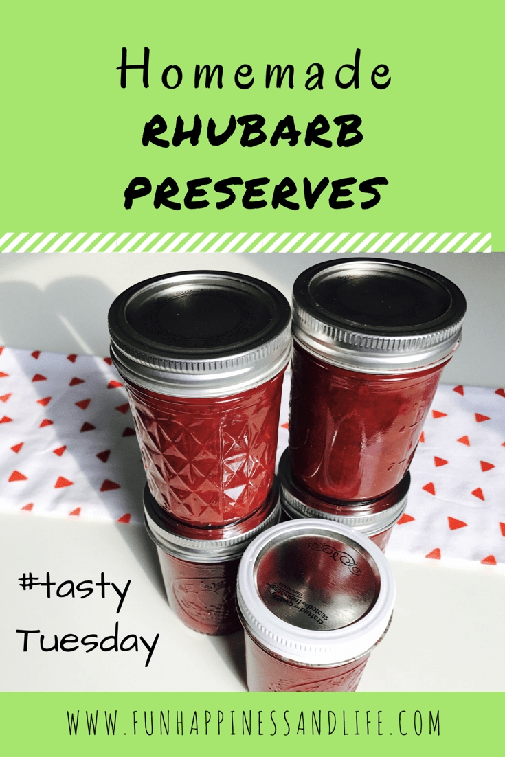 Homemade rhubarb preserves uses 3 ingredients and sweet and tangy. This easy to prepare recipe is a must for anyone with extra rhubarb!