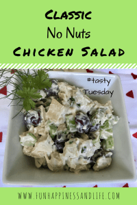 Classic Chicken Salad made without nuts is a great picnic addition. Keeping in mind your guests with tree nut allergies.