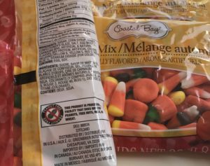 Get your nut free candy corn at dollar tree to make a quick, easy and safe Halloween trail mix. Save your labels if you are making this for a family that has food allergies, please save the label.