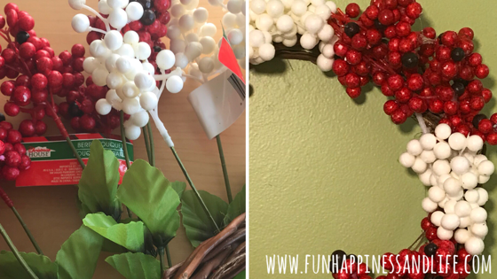 Dollar Tree Berry Wreath for Christmas