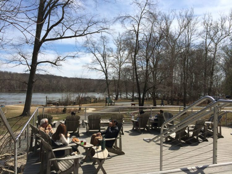 Relaxing on the Riverbend Visitor Center porch