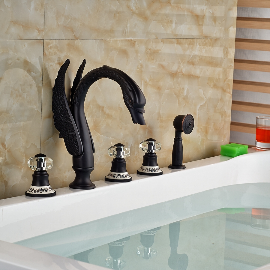 Kanim Swan Shaped 5 Hole Oil Rubbed Bronze Bath Tub Faucet