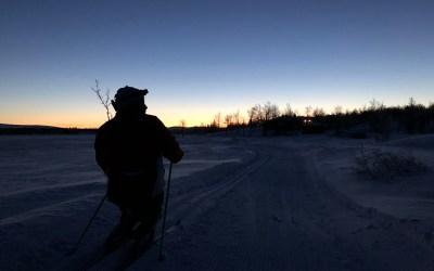 Morgengry i skisporet på piggekjelke