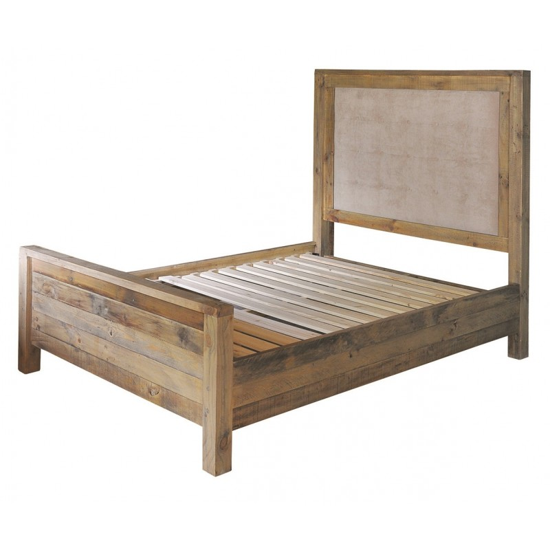reclaimed wood king size bed frame with quilted headboard fullbrook