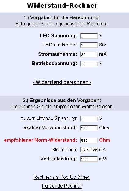LED Vorwiderstandsrechner