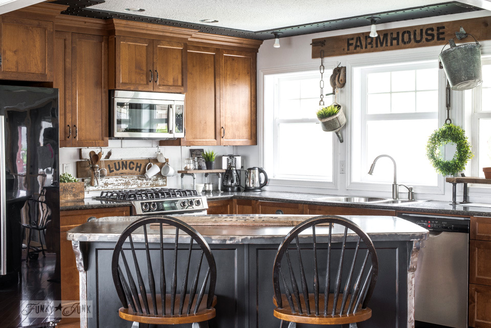 White-white walls with revamped kitchen crate shelvesFunky ... on Farmhouse Rustic Kitchen  id=26220