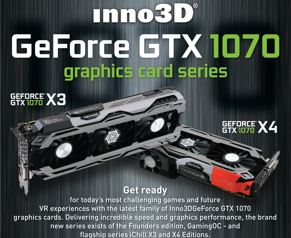 Inno3D Introduces GeForce GTX 1070 Graphics Card Series