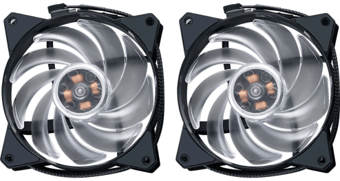 Air Balance Fans Aside from having perfect balance of airflow and airpressure to exhaust air through the fins and out of the case, the dual MF120R RGB fans uses an silent driver that smoothens fan operation to reduce fan clicks and vibrations.