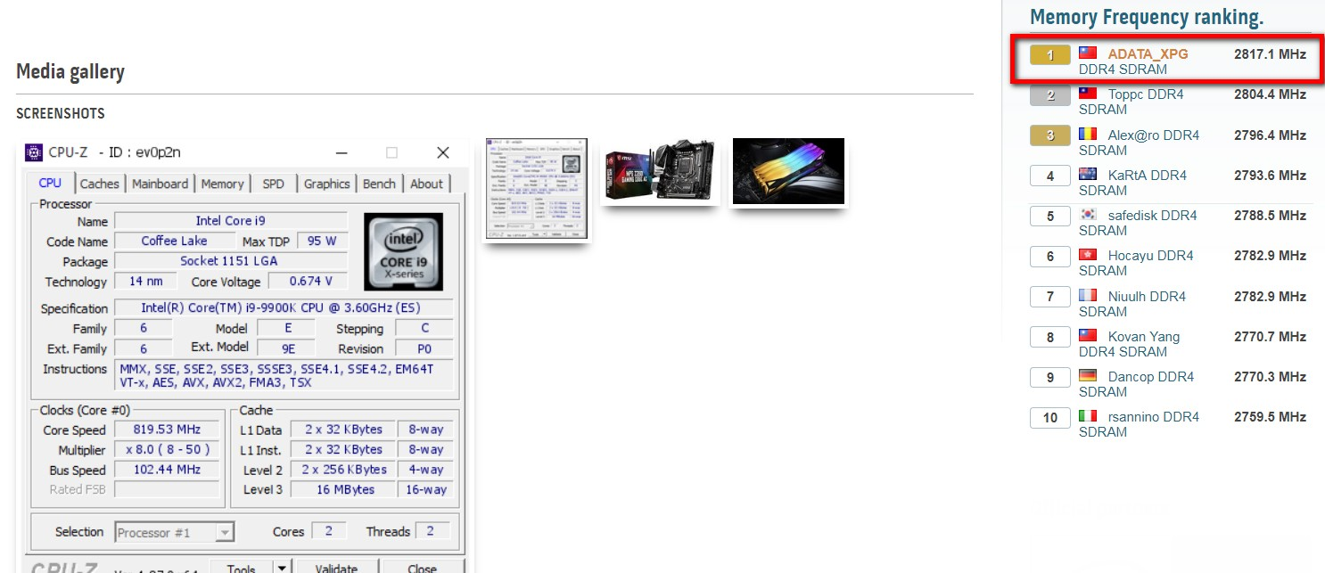 XPG SPECTRIX D60G Breaks Overclocking Record at 5634MTs HWBOT Printscreen