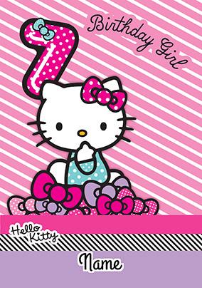 hello kitty 7 today birthday card