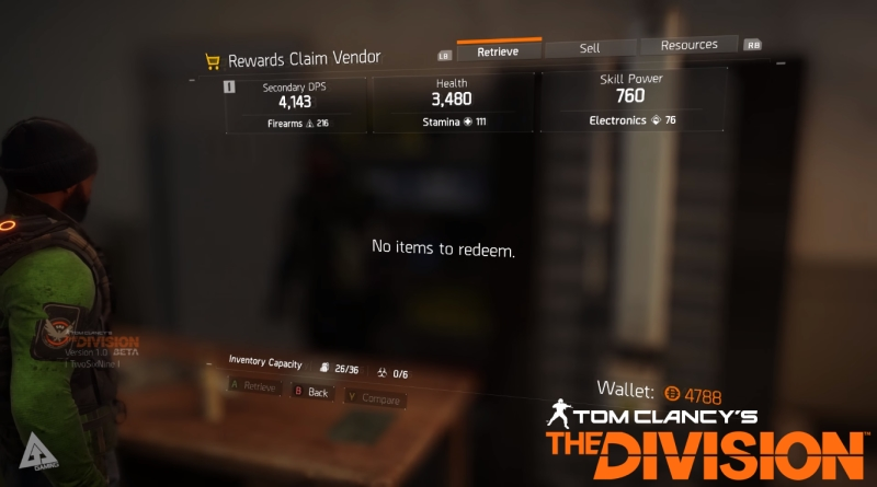 Tom Clancy's The Division Rewards Vendor