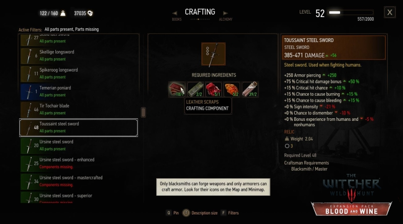The Witcher 3 Blood and Wine Toussaint Sword Stats