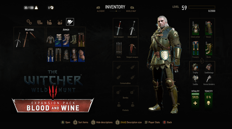 The Witcher 3 Blood and Wine Grandmaster Griffin Armor