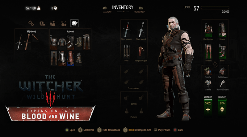 The Witcher 3 Blood and Wine Manticore Armor