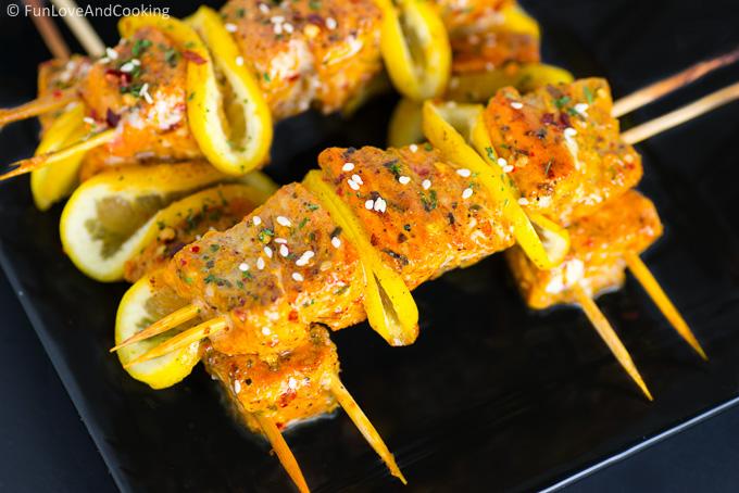 Salmon Kebab Recipe funloveandcooking.com