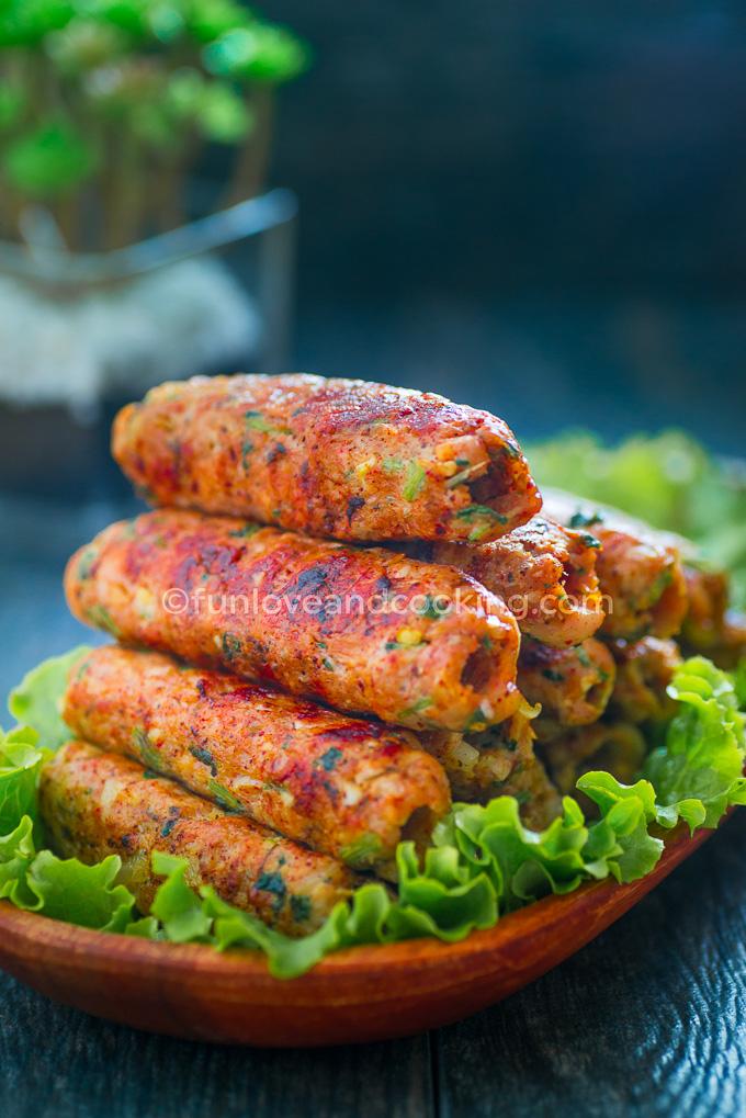 Seekh Kabab Kebabs on Skewers recipe funloveandcooking.com