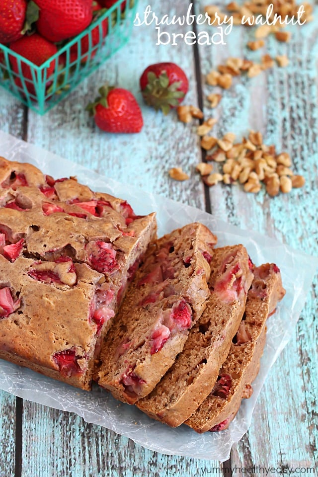 Strawberry walnut bread recipe. Love this whole list of strawberry recipe ideas - something for every meal!