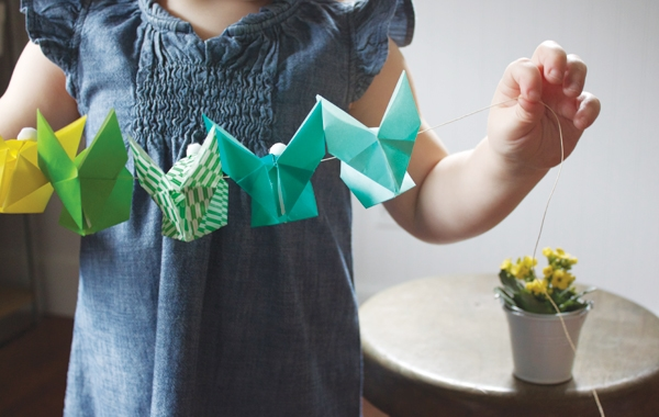 colorful origami bunny garland