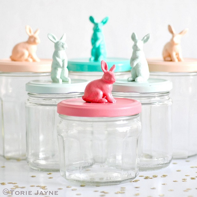 cute diy bunny jar lids from bunny toys