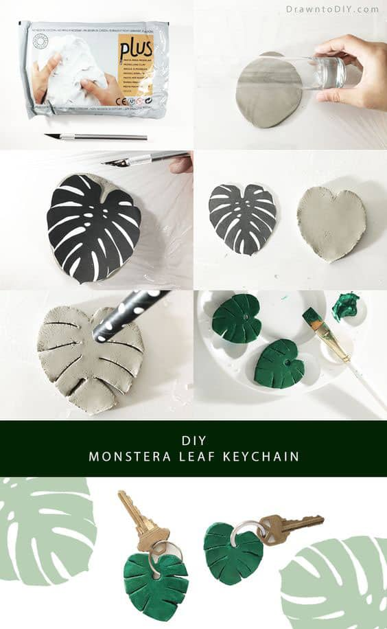 fun and easy air dry clay craft: make a monstera leaf key chain
