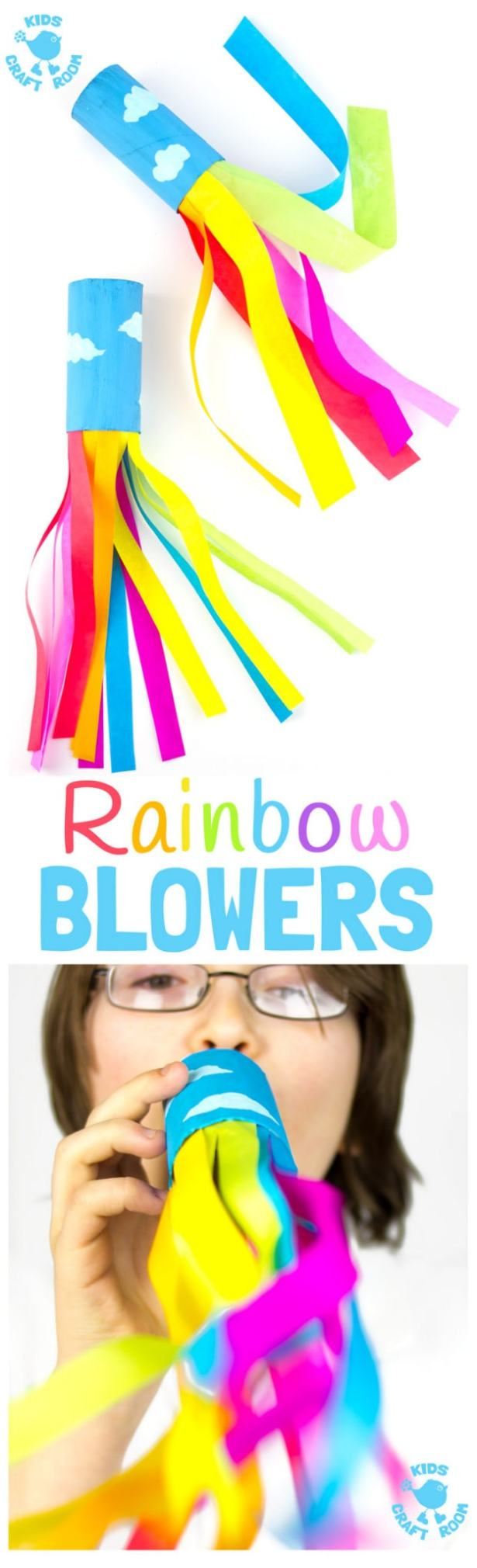 Rainbow party ideas: use these rainbow blowers as a craft or for party favors