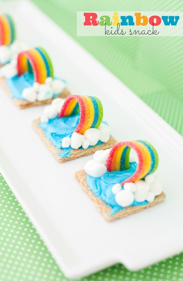 Rainbow Party Ideas, adorable graham cracker rainbow treat for rainbow party