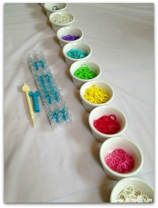 Rainbow Party Ideas, have a rainbow loom making station for kids party