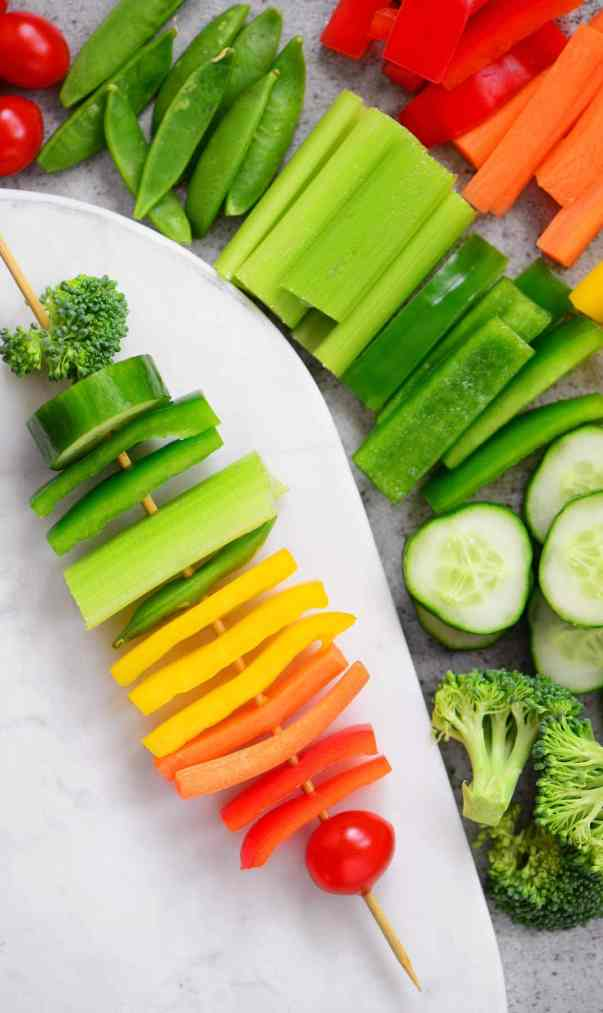 Rainbow Party Ideas: rainbow veggie kabob snack idea