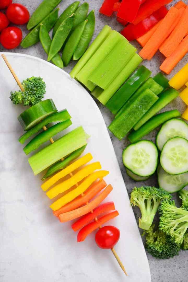 Rainbow Party Ideas: rainbow veggie kabob snack idea