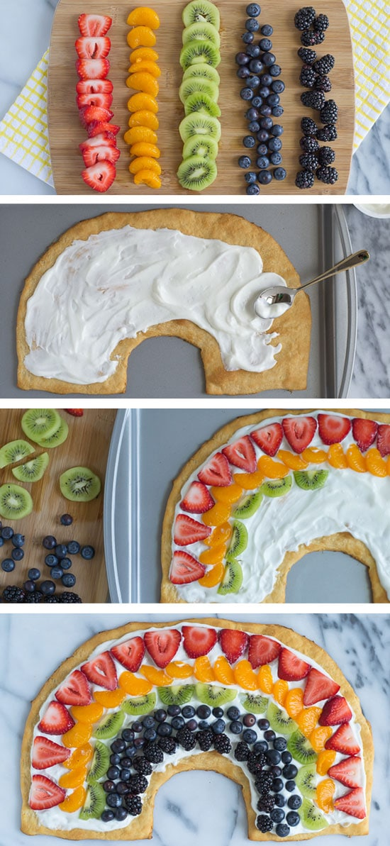 Rainbow Party Ideas, fruit pizza in rainbow shape