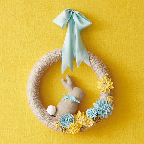 Felt flower DIY spring wreath with bunny