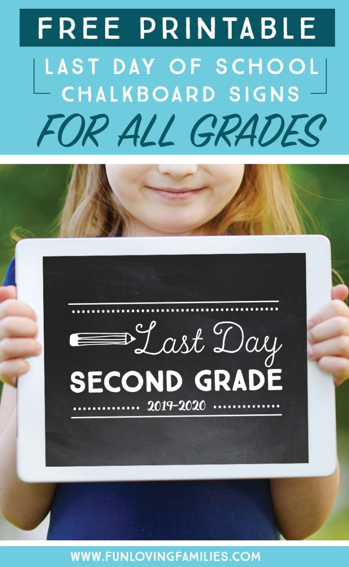 Girl holding last day of second grade 2019-2020 sign